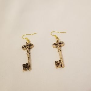 Goldtone Key Earrings